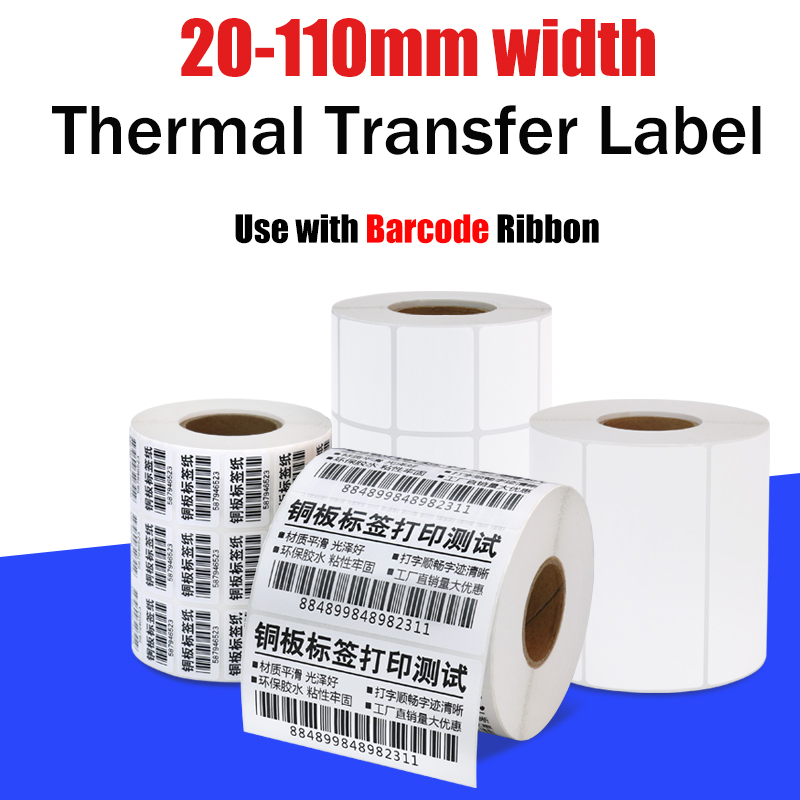 Thermal Transfer Barcode Label For Zebra Compatible Label Marker,  Core 40mm, Width 20~110 Mm,  Ribbon Required Label Sticker