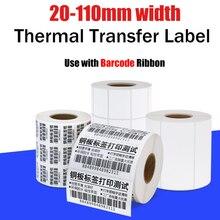 Термотрансферная этикетка штрих кода для маркера этикеток Zebra, сердечник 40 мм, Ширина 20 ~ 110 мм, требуется лента для этикеток