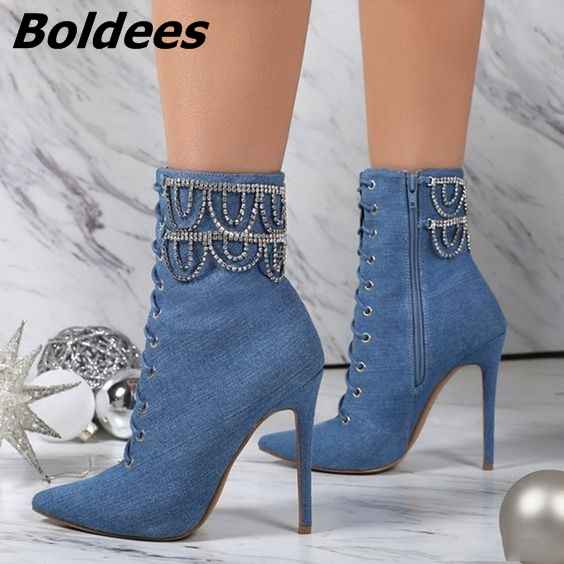 Glamorous Blue Jeans Stiletto Heel Pointy Ankle Boots Cross Strap Crystal Decorated Lace Up Short Boots Trendy fashion Shoes New недорого