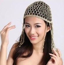 6c06e493a35 Hand Hook Belly Dance Cap Woman Beaded Head Piece Elastic Belly Dance Skull  Hat Cap Cleopatra