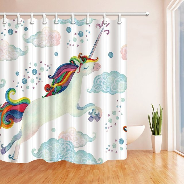 Watercolor Fairy Tale with Flying Unicorn for Kids Shower Curtain ...