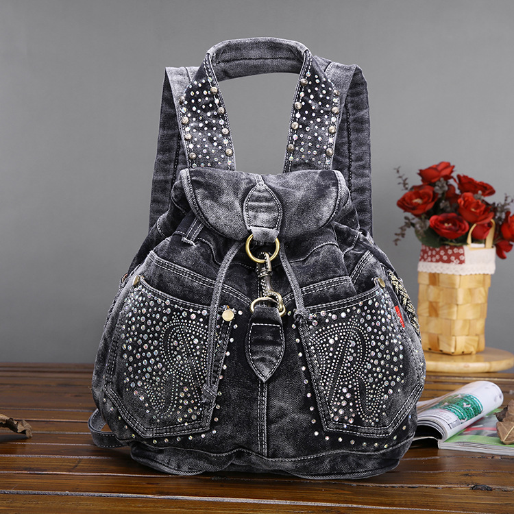 Vintage Fashion Rivets Backpacks Women Denim Backpack Jeans Travel Women Bag Casual Daypacks Ladies Bags faux leather fashion women backpacks vintage casual daypacks shoulder bags travel bag free shipping