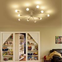 Lámparas Vintage para sala de estar Luminaria de hierro forjado para techo Luminaria E27 Dia122cm H20cm lámpara de araña blanca/negra
