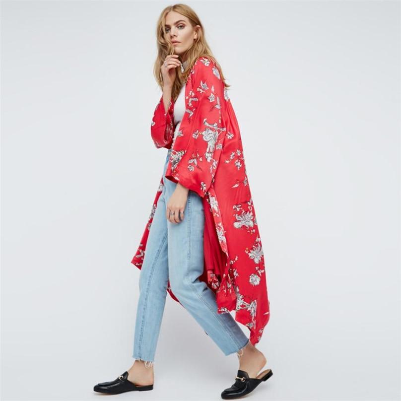 Floral print blouse shirt long kimono Women sashes kimono cardigan Elegent Three