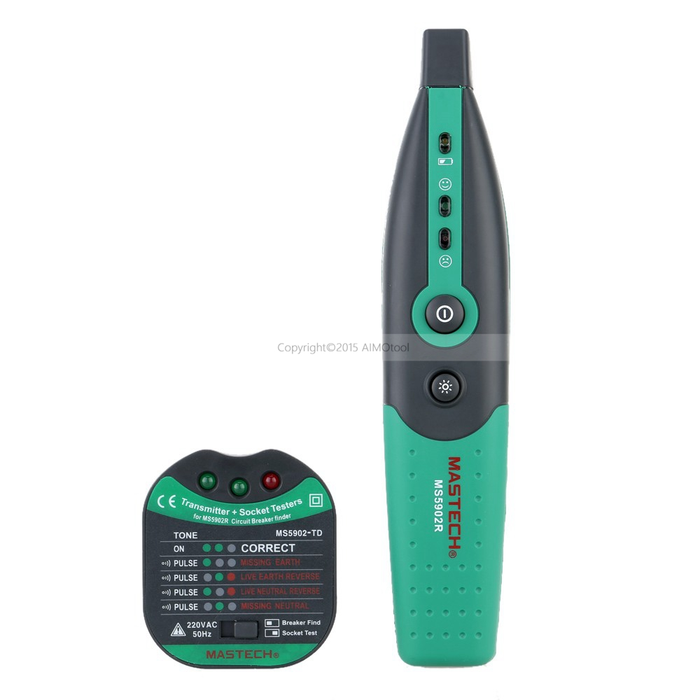 MASTECH MS5902 AC220V 50Hz Automatic Circuit Breaker Finder Fuse Socket Tester with Flashlight