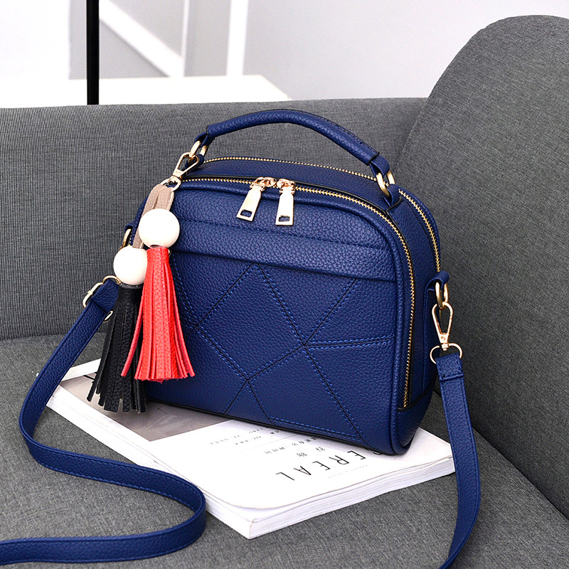 Women Tassel Bead Messenger Bag PU Leather Solid Color Small Flap Bag Solid Color Shoulder Crossbody Bags Girls Clutches Purses