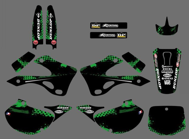 0224 New Style TEAM GRAPHICS & BACKGROUNDS DECALS STICKERS Kits For Kawasaki KX125 KX250 1999 2000 2001 2002 KX 125 250