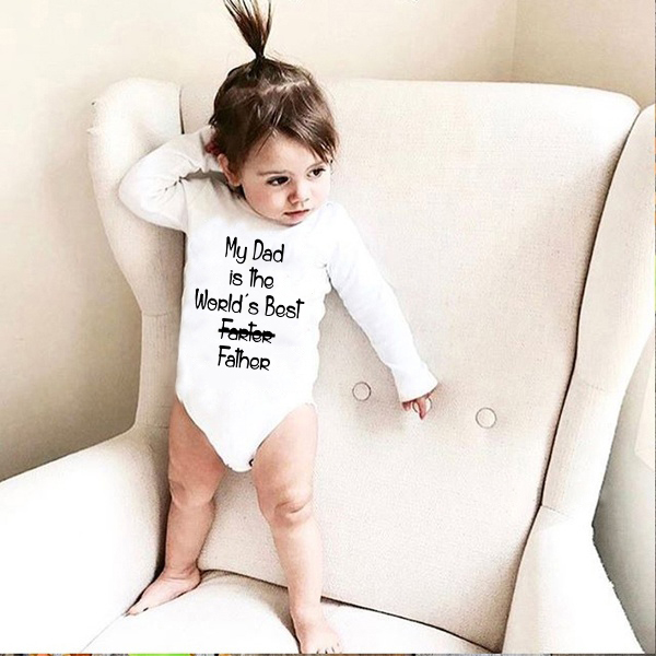My Dad Is The World's Best Father Print Baby Rompers Autumn Newborn Long Sleeve Romper Cotton Jumpsuit Outfits 0-24M