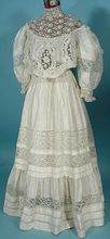 "1905 Off White Silk/Linen Fancy Lace 2-piece ""Graduation"" Gown  Medieval Clothing Victorian dress satin dress"