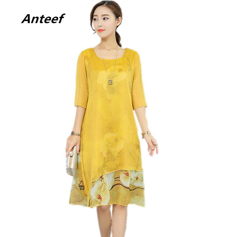 Chiffon Silk Vintage Floral Plus Size Women Casual Long Loose Summer Beach Party Dress Elegant Vestidos Clothes 2019 Dresses