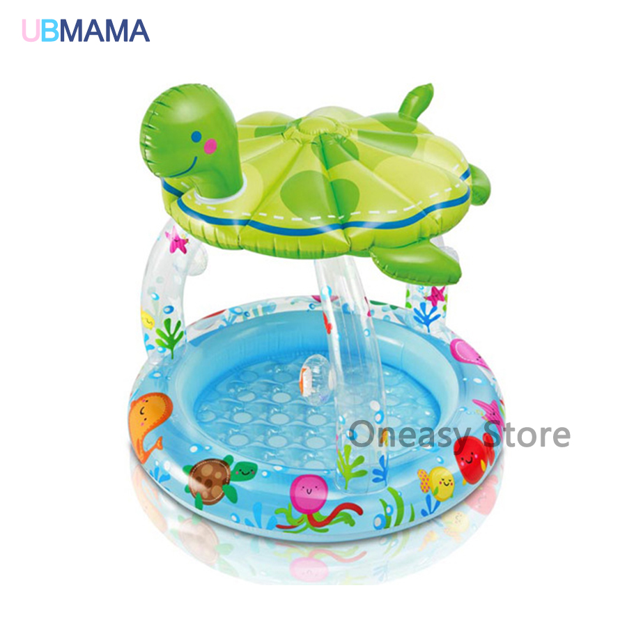 Tortoise shape inflatable bottom swimming pool circular awning water pool baby bath tub ocean ball pool bestway fisher цена дети надувные ocean pool детские игрушки pool 91x25cm bobo pool 93501