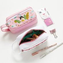 5ae0176a379a Fulllove 2 unids/set 19*20 cm lápiz bolsas de lona nuevo Rosa chica impreso  zip Lock lápiz estuches y bolsos para las muchachas .