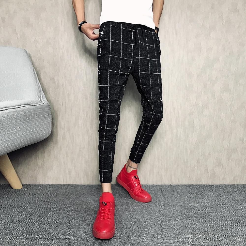 e87106942382 Detail Feedback Questions about Pantalon Homme Korean Slim Fit Casual Men  Pants Brand Designer Ankle Length Plaid Pant Men Trousers Streetwear Men s  ...