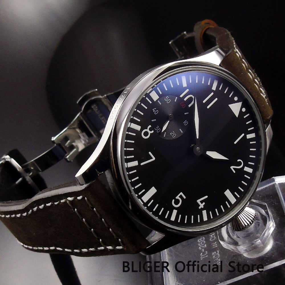 Casual 44MM Black Sterile Dial Polished Case Mechanical 17 Jewels 6497 Hand Winding Men's Pilot Wrist Watch PA1 B