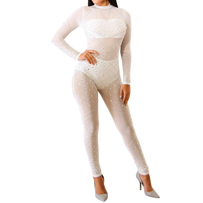 Black Nude Diamond Mesh Long Jumpsuit Women Romper 2018 Autumn Winter See Through Transparent Club Party Bandage Outfit Overalls