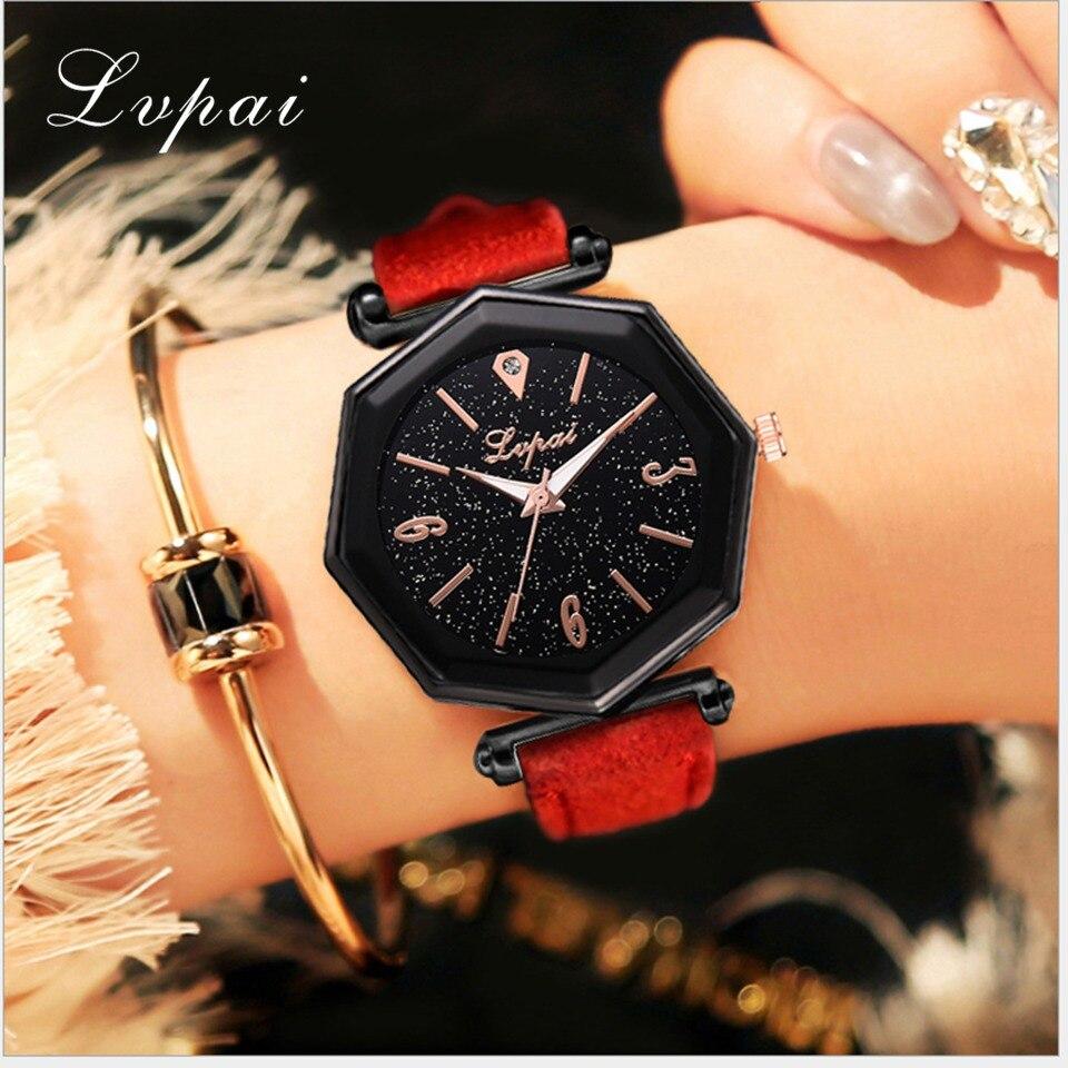 Lvpai Brand Women's Watches Fashion Black Stary Dress Quartz Watches Geneva Casual Band Sports Analog Quartz Watch Reloj Mujer