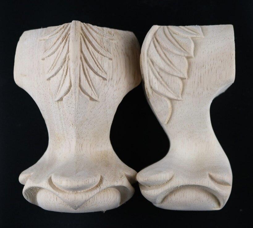 Купить с кэшбэком 4Pieces/Lot Height:12x6cm Sofa Coffee Table Desk Cabinet Solid Wood Feet  Furniture Wood Carved Sofa Legs