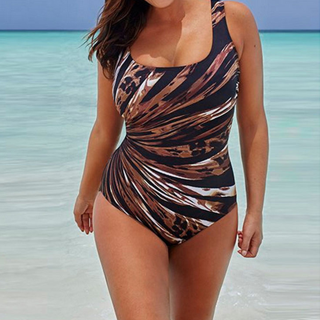 Plus Size Swimwear Women Striped Print Bathing Suit Large Size One Piece Swimsuit XXXXL Monokini Maillot De Bain Swimming Suit