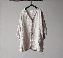 Simply Design Original Cotton Linen Women Loose Shirt Long Sleeve Spring Summer Comfortable Casual Blouse Camisa Social Femme