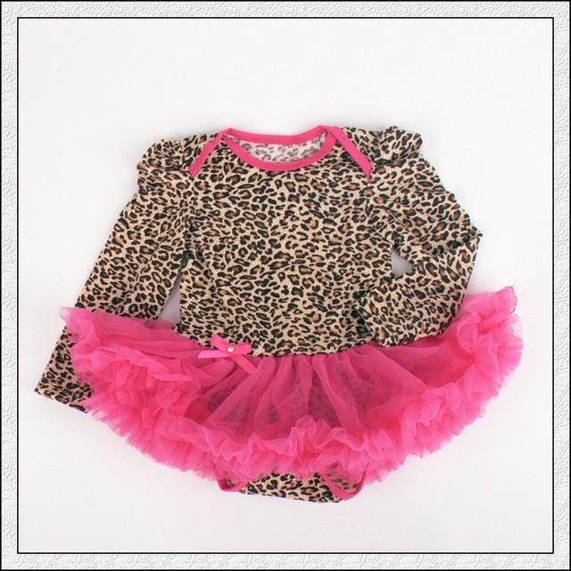 1 UNID Leopard Lace Romper Bowtie Del Bebé Niñas de Manga Larga Vestido Del Tutú de Tul para 0-12months Envío Libre