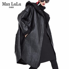 Max LuLu 2019 moda coreana señoras invierno Streetwear mujeres con capucha de cuero de imitación Chaqueta larga Cazadora de piel de mujer abrigo de talla grande