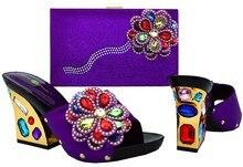 Afrikanische Sandale Schuhe Hohe Qualität Schuhe Und Passende Taschen Set mit Strass Für Party Italienische Schuhe Und Tasche Zu Passen BCH-36