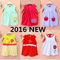 ГОРЯЧАЯ 2016 baby girl dress 1-2 лет летние dress Хлопок Одежда для новорожденных baby dress Одежда Напечатаны 1 год рождения dress RD8569
