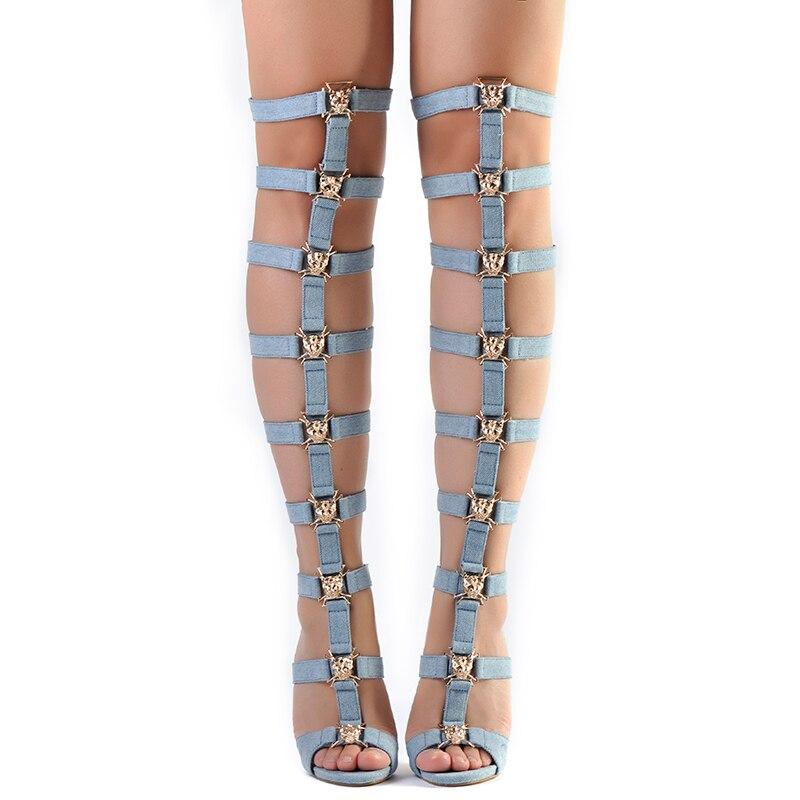 Pink Palms women summer shoes blue denim high heels metallic tiger fretwork over the knee boots strap motorcycle sandals