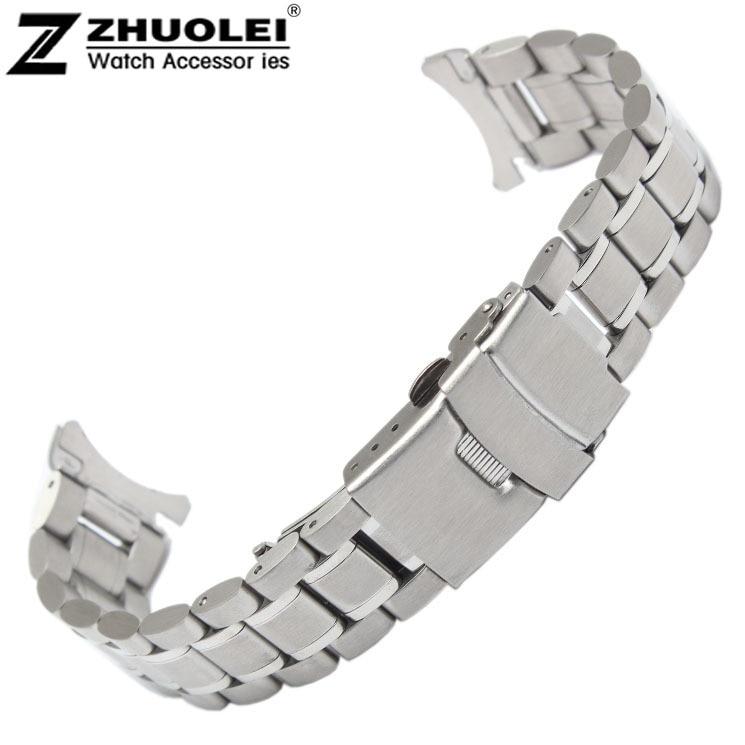 18mm 20mm 22mm 24mm Edelstahl Solide Verbindungen Uhrenarmband-bügel-armband Curved End Kostenloser Versand