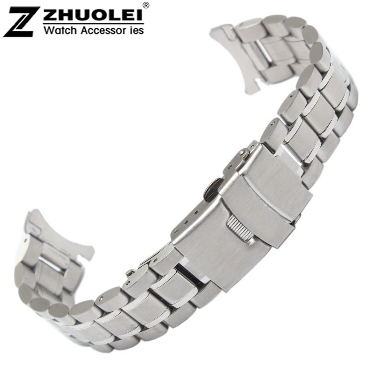18mm 20mm 22mm 24mm Stainless Steel Solid Links Watch Band Strap Bracelet Curved End Free Shipping curved end stainless steel watch band for breitling iwc tag heuer butterfly buckle strap wrist belt bracelet 18mm 20mm 22mm 24mm