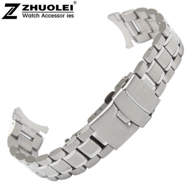 18mm 20mm 22mm 24mm Stainless Steel Solid Links Watch Band Strap Bracelet Curved