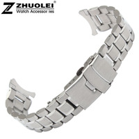 Stainless Steel Solid Links Watch Band Strap Bracelet Curved End 18mm Free Shipping