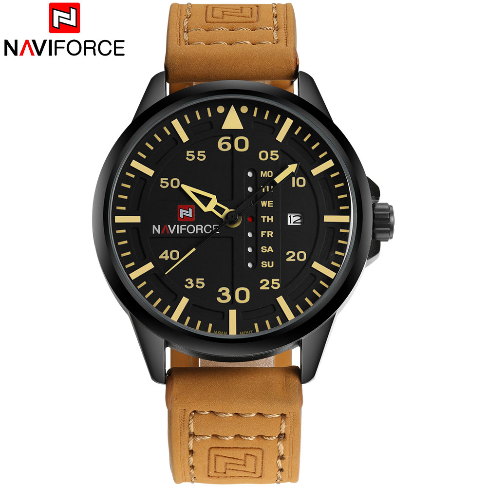NAVIFORCE Brand Fashion Casual Quartz Watch Men Waterproof Sport Watches Leather Band Week Date Creative Calendar Wristwatches naviforce men silicone band wristwatches waterproof quartz analog display date day week wrist watch fashion casual watches 9107