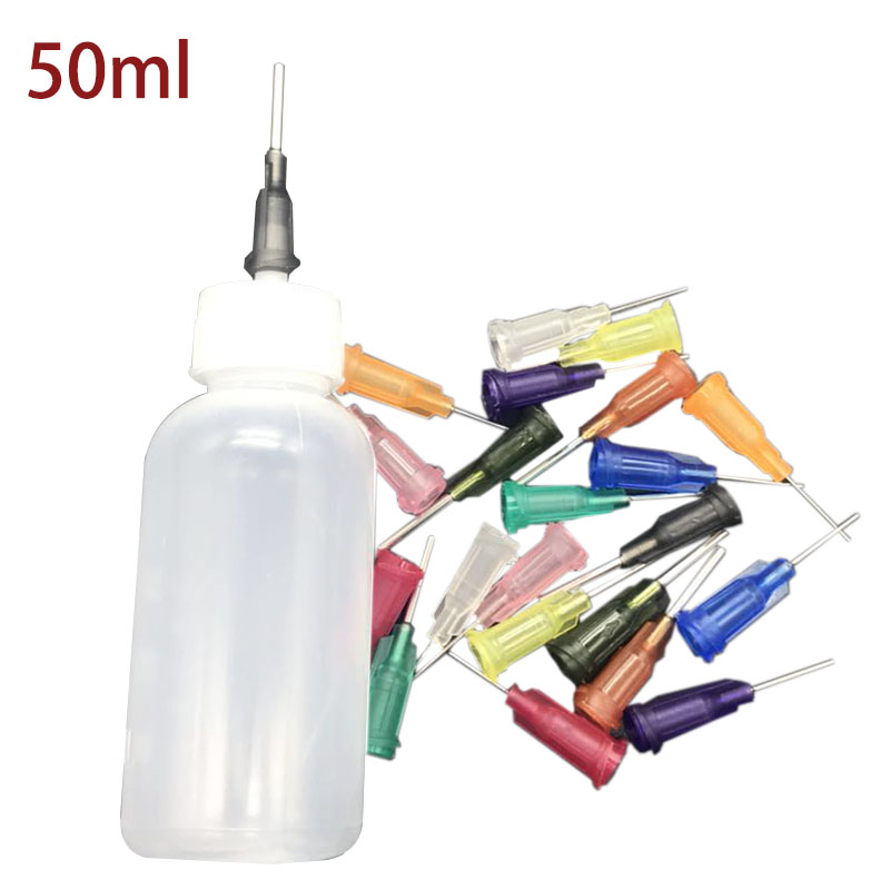 50ml Dispenser Rosin Solder Flux Paste +11 Needles Tool Parts Empty E-liquid Plastic Rosin Flux Alcohol Bottle