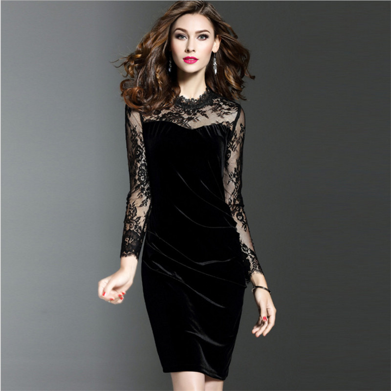 4159d252161 2018 Spring New Women Dress Sexy Hollow Mesh Lace Patchwork Slim Package  HIp Long Sleeve Gold