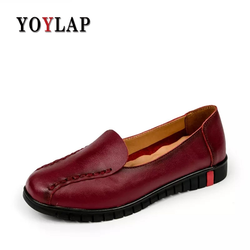 2017 New 100% genuine leather women flats shoes female casual loafers soft outsole Non-slip women's handmade shoes 2018 new summer handmade breathable women s shoes genuine leather female hole loafers soft outsole casual shoes flats
