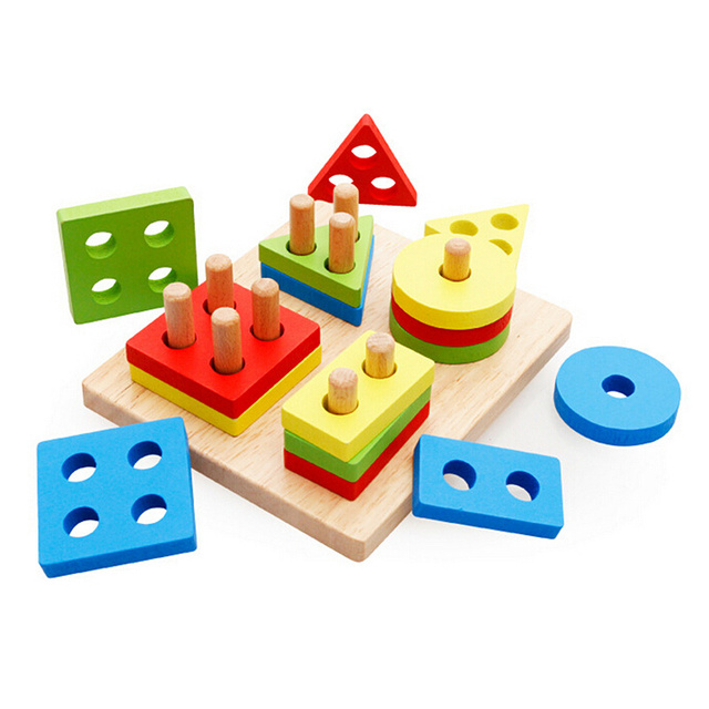 hot kids gift montessori educational toy game blocks matching color shape recognize wooden block toy