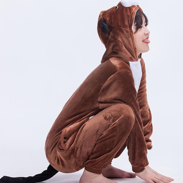 Animal Dog Onesie Costume Adult Women Men Pajama Brown Cartoon Funny Jumpsuit Flannel Thicker Warm Sleepwear Winter High Quality