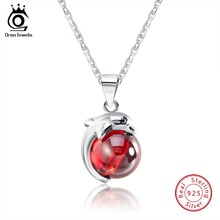 цена ORSA JEWELS 925 Sterling Silver Pendant Necklace Lovely Dolphin With Red Agate Natural Stone 925 Necklace Women Jewelry OSN02 онлайн в 2017 году