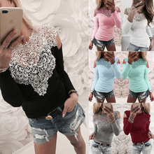 Off Shoulder Women Tops S-3XL Lace Splice Long Sleeve T-shirt New 2019 Spring Summer Casual T-Shirt Hollow Out Sexy Shirt
