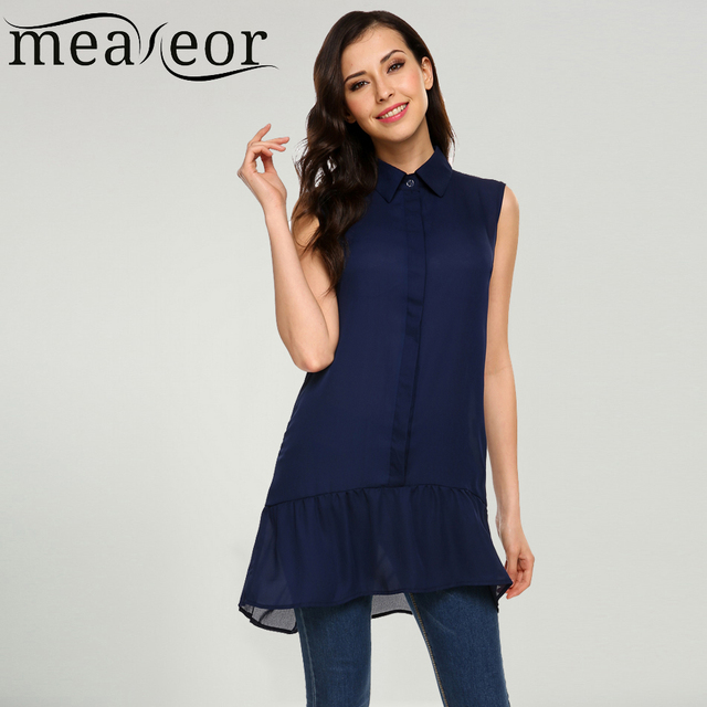 330363965369 Meaneor Women Sleeveless Chiffon Blouse Shirt Turn Down Collar Front Button  Pleated Hem Loose Long Blouses Summer Female Tops