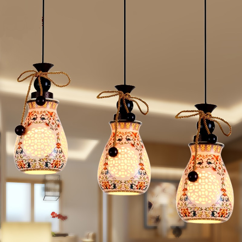 Double Floor Stairs Pendant Lights Ceramic Glass Chinese Style Hanging Lamp Living Room Dining