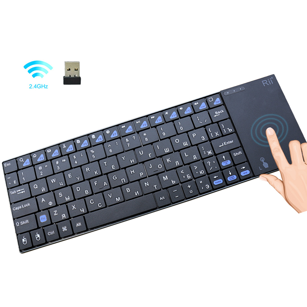 Original Rii i12plus teclado inalámbrico con Touchpad ruso Español Francés Inglés versión para PC Smart TV IPTV Android TV Box