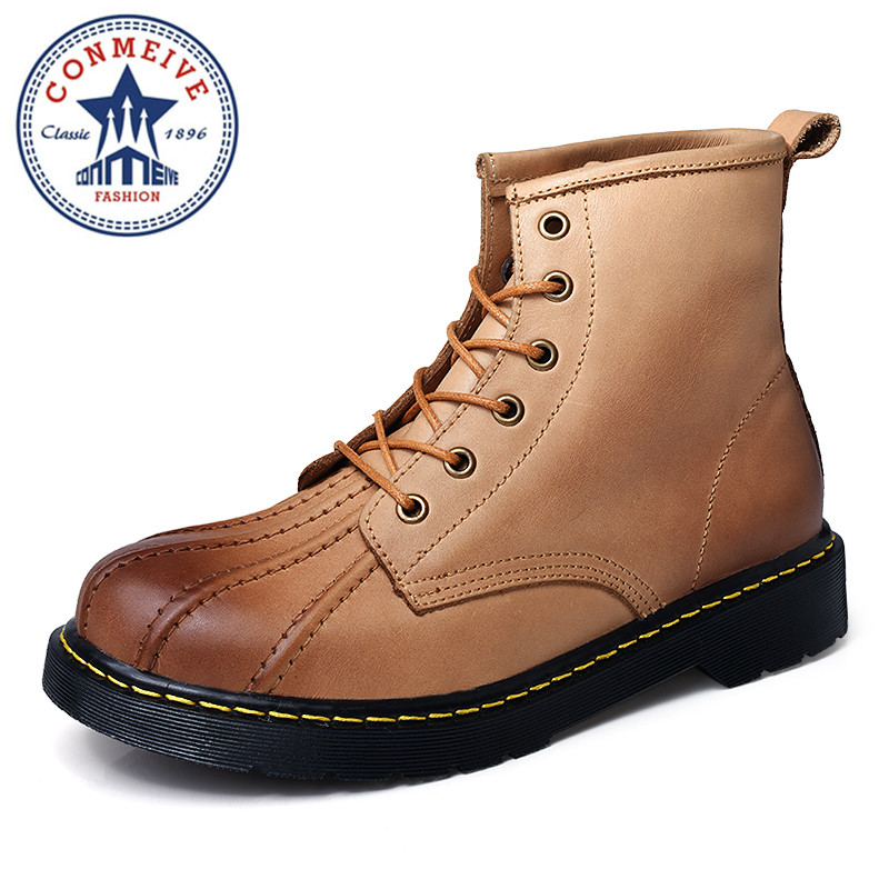 British Style Vintage Men Boots High-quality Tooling Boots Genuine Leather Martin Men Autumn Boots Water Proof Work Hiking british style vintage men ankle boots genuine leather male tooling boots riding equestrian lace up autumn winter 2 5