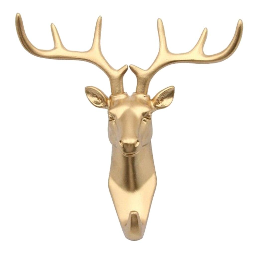 Us 8 58 40 Off Resin Animal Horse Rhino Giraffe Goat Elephant Deer Stags Head Hook Hanger Rack Holder Wall Mount Home Room Decor Gold In Hooks