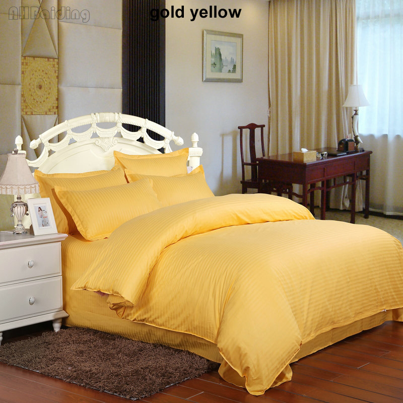 Hot Sale 5 Star Gold Yellow Hotel Bedding Set 100% Material Stripes Bed Linens Twin Full Queen King Size Bedclothes 16 ColorsHot Sale 5 Star Gold Yellow Hotel Bedding Set 100% Material Stripes Bed Linens Twin Full Queen King Size Bedclothes 16 Colors