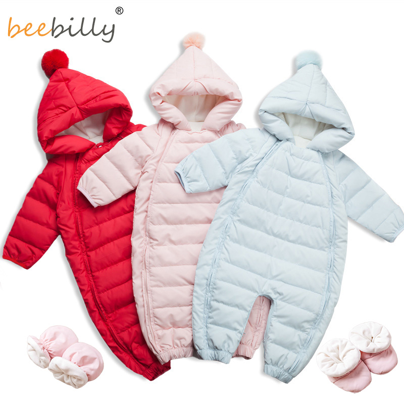 High Quality Baby Rompers Winter Thick Warm Baby Girls Clothing Long Sleeve Hooded Jumpsuit Baby 90% Duck Down Jackets for -25 thick warm long 90