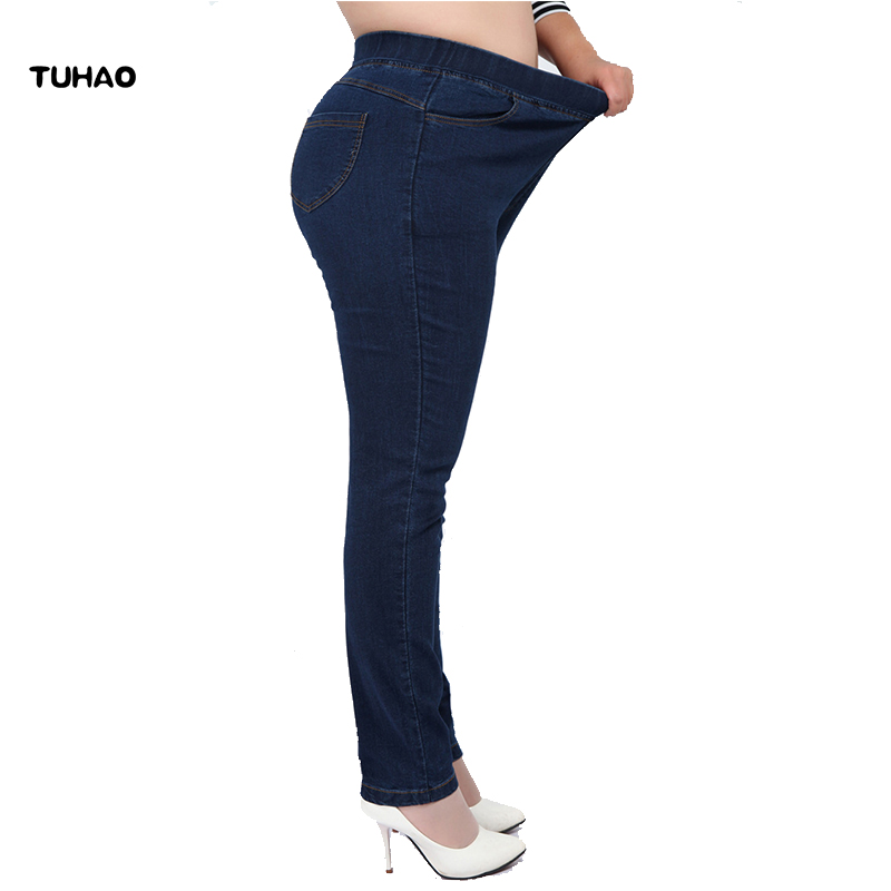 TUHAO High Waist Femme Jeans Plus Size 7XL 6XL 5XL 4XL pencil pants 2018 spring casual Jeans Women trousers Denim Pants YH01