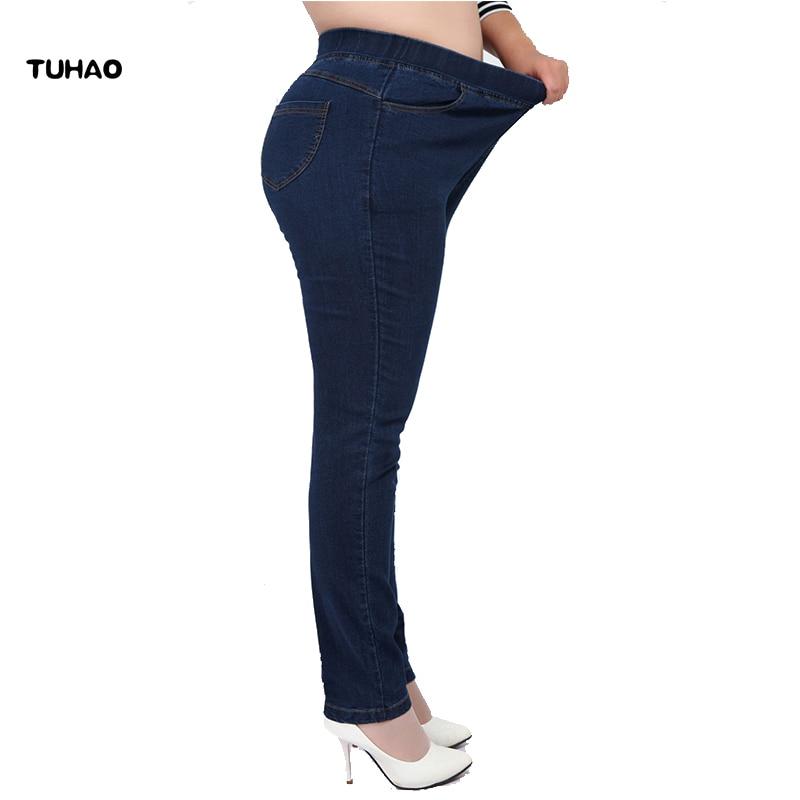 TUHAO High Waist Femme Jeans Plus Size 7XL 6XL 5XL 4XL pencil pants 2018 spring casual Jeans Women trousers Denim Pants YH01 cotton denim jeans casual plus size bloomers pants for women spring autumn high waist new arrival female trousers black mfm0601