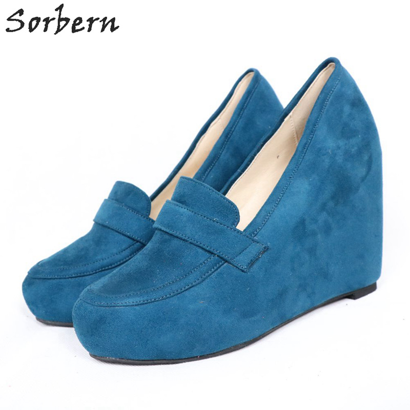 Sorbern Made T Order Women Pumps Platform Wedge High Heels Plus Size Ladies Shoes Custom Faux